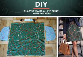 Skirt Patterns With Pockets Simple Tutorial Easy DIY Elastic Waist ALine Skirt W Pockets Extra Petite