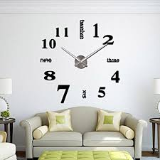 CoZroom Large Black 3D Frameless Wall Clock Stickers DIY Wall Decoration  For Living Room Bedroom