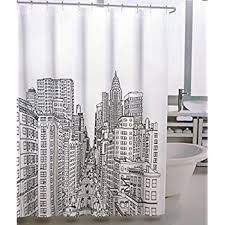 black and white shower curtains. Tahari Fabric Shower Curtain New York City Manhattan Black On White -- Avenue And Curtains
