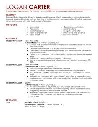 Resume Example Sample Resume For Entry Level Retail Sales Associate