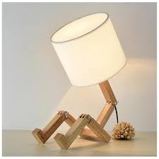 2019 Modern Lovely Robot Shape Desk Lamp Wooden E27 Lamp Holder 110