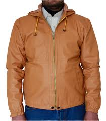 men s tan biker leather jacket with leather hoo
