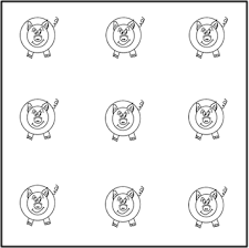 Connect the dots of the same color with lines, but be careful not to overlap or cross them otherwise, you lose! Math Stumper Use Two Squares To Make Separate Pens For Nine Pigs