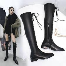 nayiduyun thigh high boots women black cow leather lace up knee high riding booties low heel tall shaft punk sneaker oxfords leather boots for women sporto