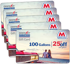 total of five 5 gift cards each card good for 25 off per gallon for 100 gallons