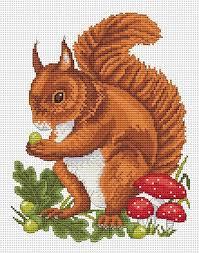 Red Squirrel Cross Stitch Chart