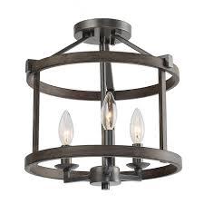 Semi Flush Foyer Lighting Lnc 12 In 3 Light Bronze Faux Wood Drum Foyer Semi Flush Mount Light
