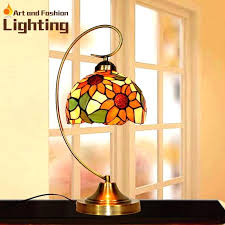colored glass lamp lotus table lamp for bedroom colorful glass vintage desk lamp glass novelty lamp