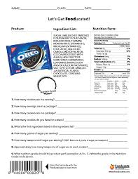 worksheets fooducate oreos