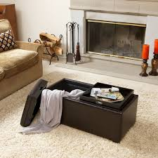devonshire brown leather tray ottoman