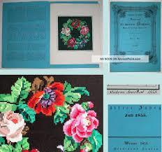 Berlin Wool Work Charts Antique Handpainted Berlin Woolwork Roses Wreath Chart
