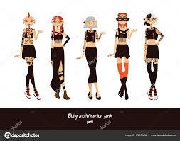 векторный набор с милые молодые девушки с модификации тела как