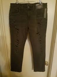 Mens Decree Distressed Slim Straight Fit Jeans Embroidered