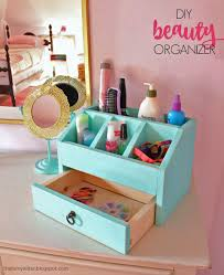 use s wood to build a desktop or vanity organizer with cubbies and a drawer