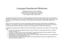 Language Development Milestones Chart Milestones