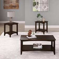 cambridge 3 piece espresso 2 tiered coffee table and end tables set