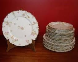 Antique Limoges Elite Works Set Of 17 Various Sized Plates Floral