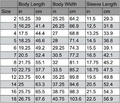 Body Length Size Chart Size Chart Threads In Disguise