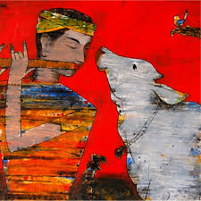 murli and cow painting by artist raju terdals acrylic canvas