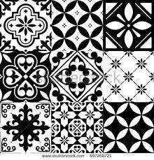 Black And White Pattern Tile Custom Spanish Tiles Moroccan Tiles Design Seamless Stock Vector Royalty