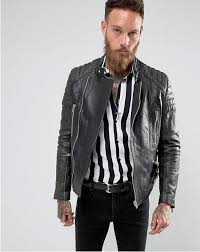blackdust stardust leather biker jacket with quilted sleeves