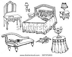 blanket clipart black and white. sketch of a classic bedroom furniture, bed, blanket, pillow, nightstand, lamp blanket clipart black and white y