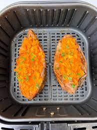 easy air fryer loaded baked sweet potatoes