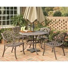 5 piece metal patio dining set in bronze