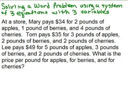 word problems videos for high school math algebra help math help  system of 3 equations word problem preview image