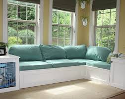 window seat furniture. Custom Built Storage Corner Window Seat With End Tables And Enclosed Dog Crate- Kennel Furniture
