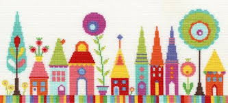 Funky Houseboat Cross Stitch Baloon Fish And Octopi