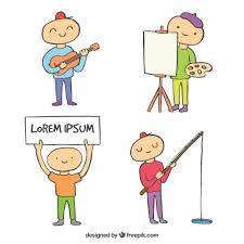 hobbies for kids. hand drawn child practising hobbies free vector for kids
