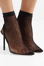 Caden Suede And Leather Trimmed Fishnet Sock Boots