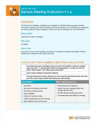 Plus Delta Organization Chart Sample Meeting Evaluation Plus Delta Labor Management