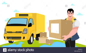 Concept for express delivery service, Courier and delivery man character  vector illustration. 010 Stock Vector Image & Art - Alamy