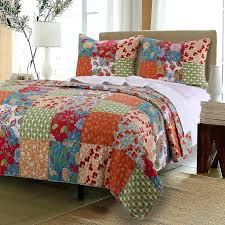 country quilt set vintage country fl patchwork orange red green cotton reversible 3 piece quilt shams country quilt