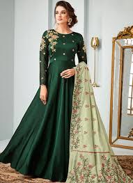 Full Length Suit Design Resham Green Satin Floor Length Anarkali Suit
