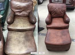 leather chair and footrest re dye and restoration