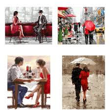 red umbrella love couple painting by number diy handpainted oil on couple with red umbrella wall art with best red umbrella wall art products on wanelo