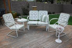 white iron patio furniture. Simple Patio White Metal Patio Furniture Sets With And Green Cushion On The Chair  Wooden Floor Ideas Iron O