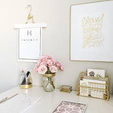 Pink white and gold office. … | Home | Pinte…