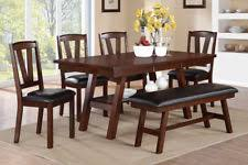 dining room furniture walnut birch veneer unique 6pc dining set chairs bench new