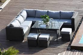 papaver range 9 seater rattan corner sofa dining set garden furniture dark grey