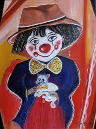 Peinture CLOWN, mon Ami du peintre Brigitte Dickinson sur ...