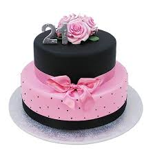 Black And Pink 21st Cake Two Tiers