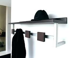 wooden wall mounted coat rack white steel with square dark