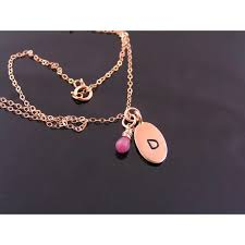 14k rose gold filled initial or monogram necklace birthstone