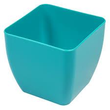 turquoise shiny alcea square flower pot x cm plastic planter