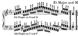Piano Scale Finger Chart Two Octave Fingering For Eb Major In Double Thirds Piano Music