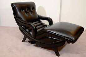 mid century reclining chaise lounge in black leather at stdibs
